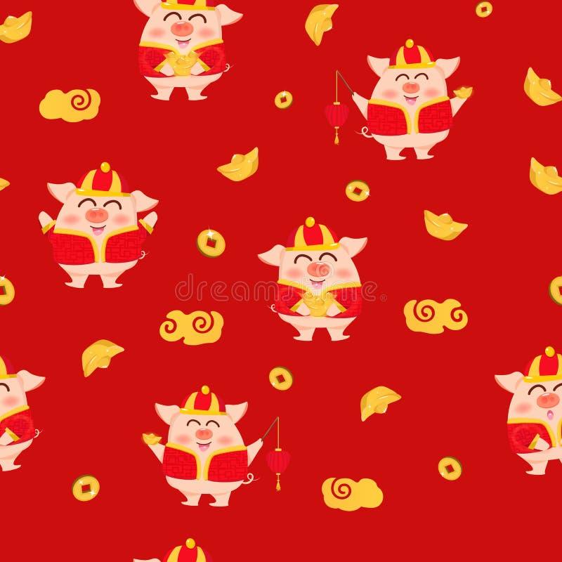 Porco, ouro, lanterna, lâmpada e dinheiro, ano novo chinês, 2019, ilustração vermelha do vetor do fundo da textura dos personagen ilustração do vetor