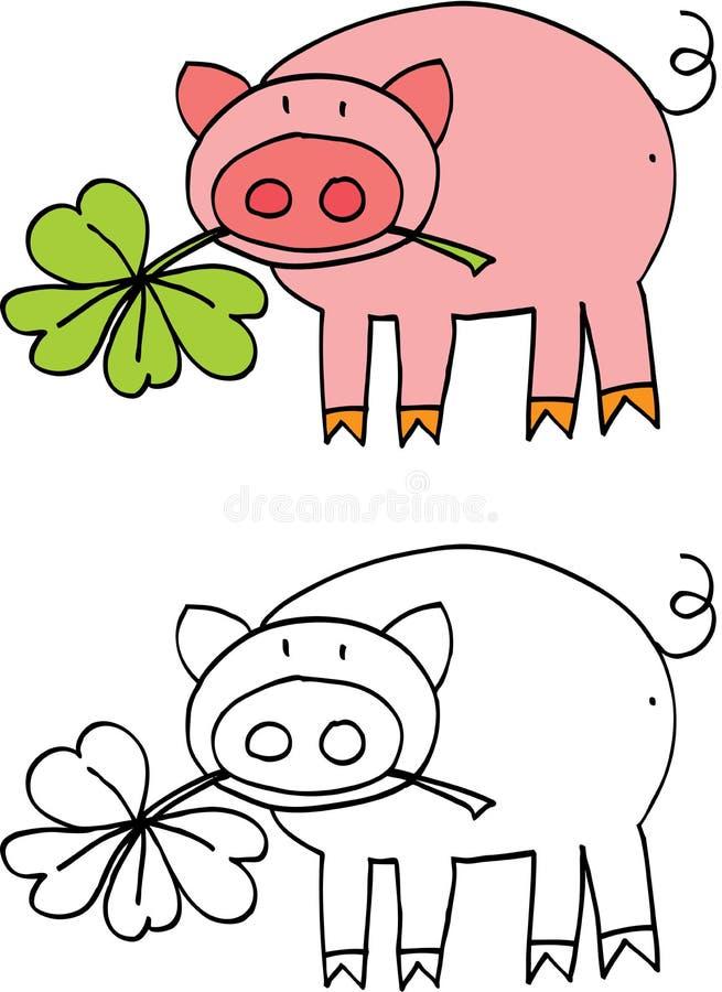 Porco para a sorte ilustração stock