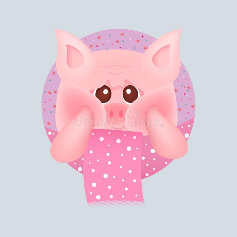 Porco pequeno bonito com os mordentes vermelhos com lenço cor-de-rosa, em fundos cor-de-rosa Para o cart?o e o convite do beb? Il ilustração royalty free