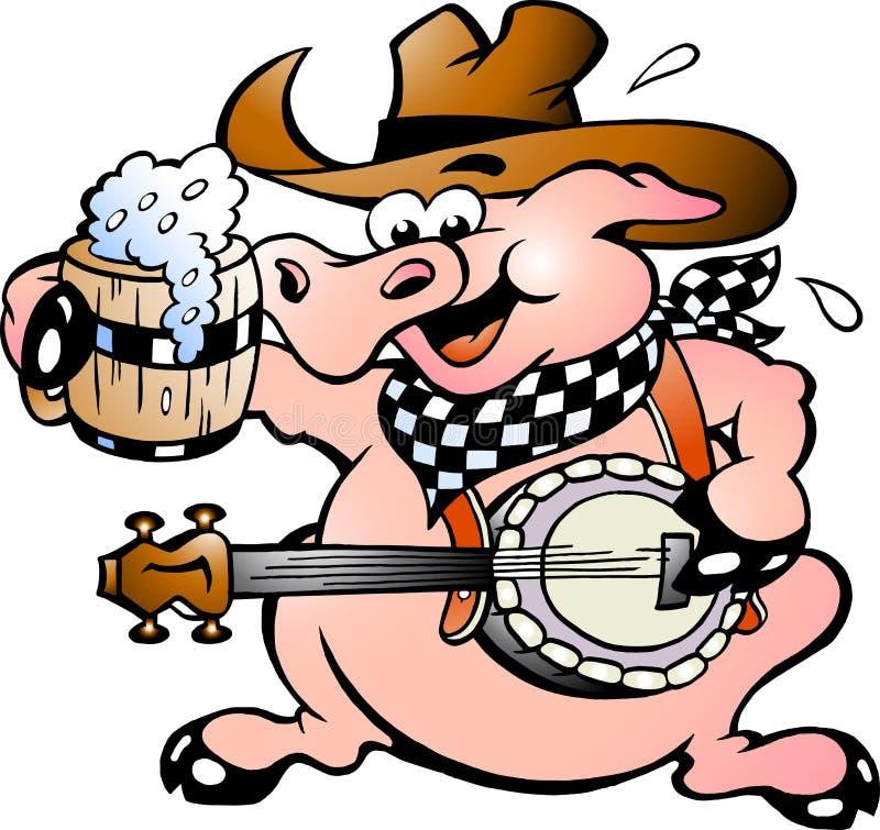 Porco que joga o banjo ilustração royalty free