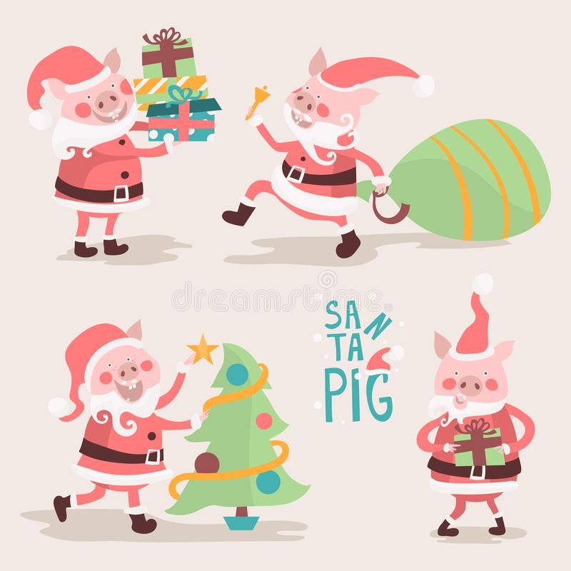 Porco Santa Claus dos desenhos animados Leitão engraçados do Natal ajustados ilustração royalty free