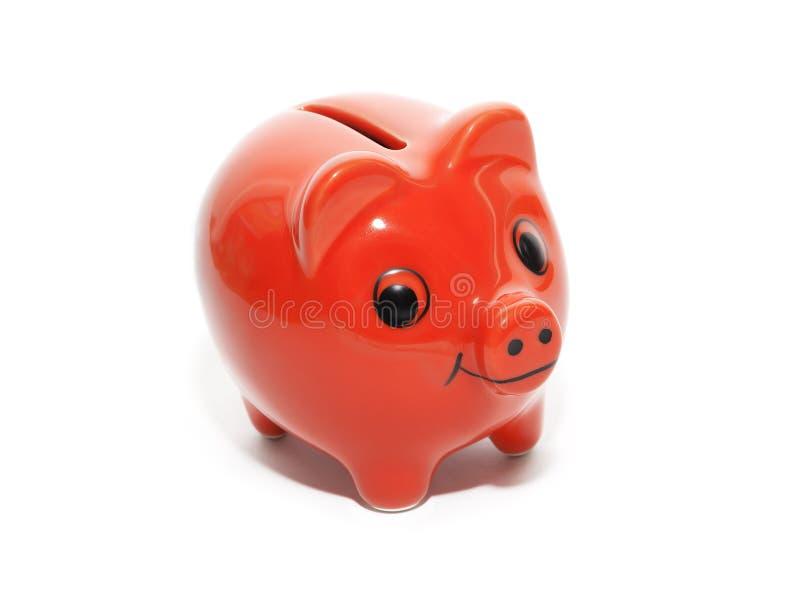 Porco vermelho do dinheiro fotografia de stock