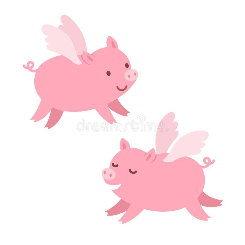 Porcos bonitos do voo ilustração royalty free