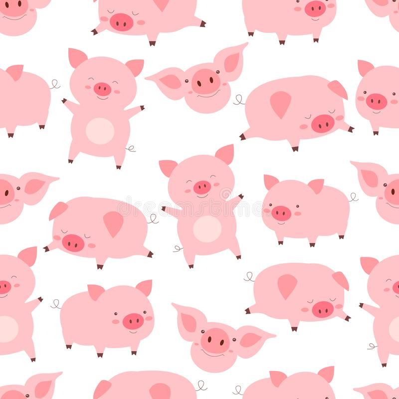 Porcos bonitos pequenos alegres do teste padrão sem emenda do kawaii, em poses diferentes, no fundo branco Vetor engraçado dos an ilustração do vetor