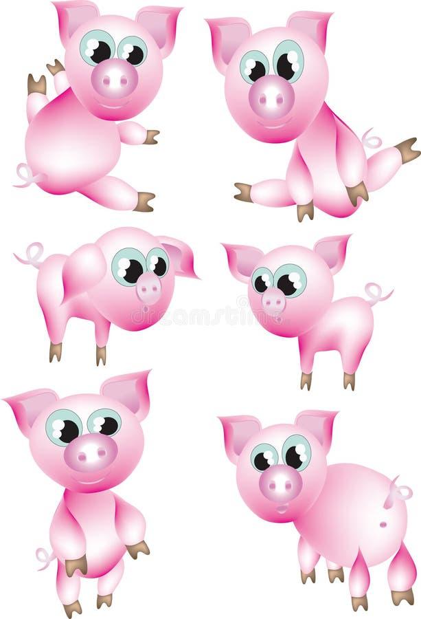 Porcos cor-de-rosa. ilustração royalty free