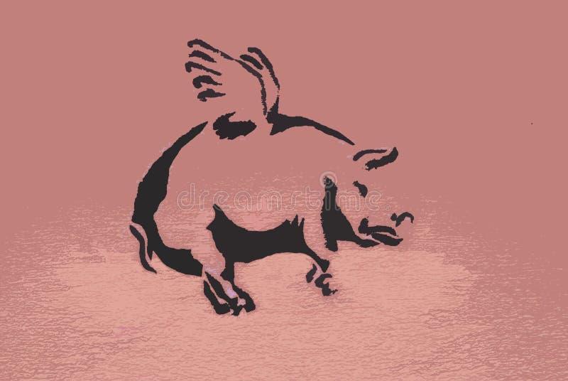 Porcos do vôo ilustração do vetor