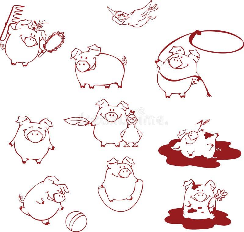 Porcos engraçados dos desenhos animados que têm o divertimento, jogando e enganando ao redor ilustração royalty free