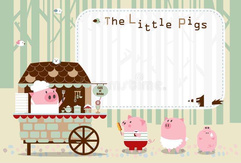 Porcos pequenos do quadro da praça da alimentação ilustração do vetor