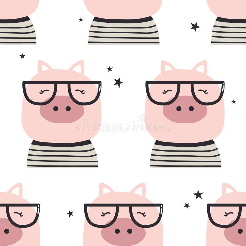 Porcs avec des verres, modèle sans couture illustration libre de droits