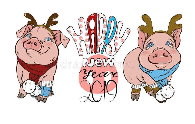 Porcs en costumes et texte de Noël illustration de vecteur