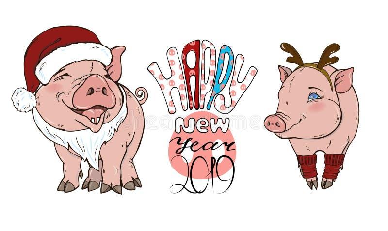 Porcs en costumes et texte de Noël illustration stock
