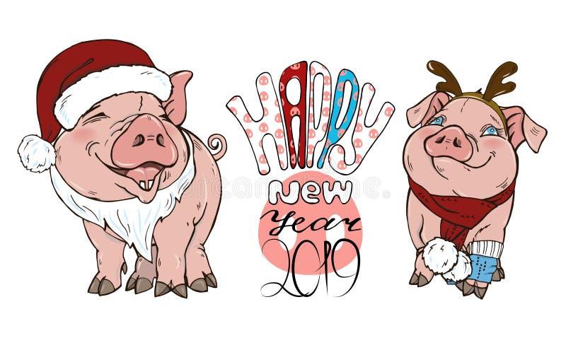 Porcs en costumes et texte de Noël illustration libre de droits