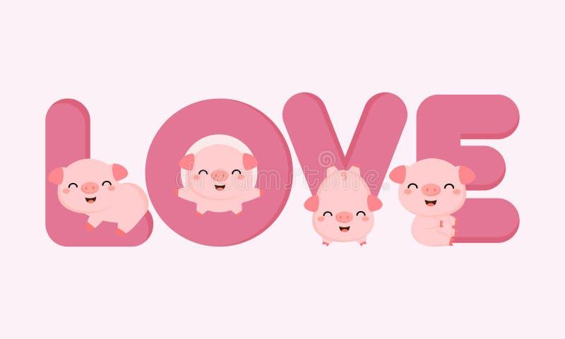 Porcs mignons avec des lettres d'AMOUR Carte de Valentine Greeting illustration libre de droits