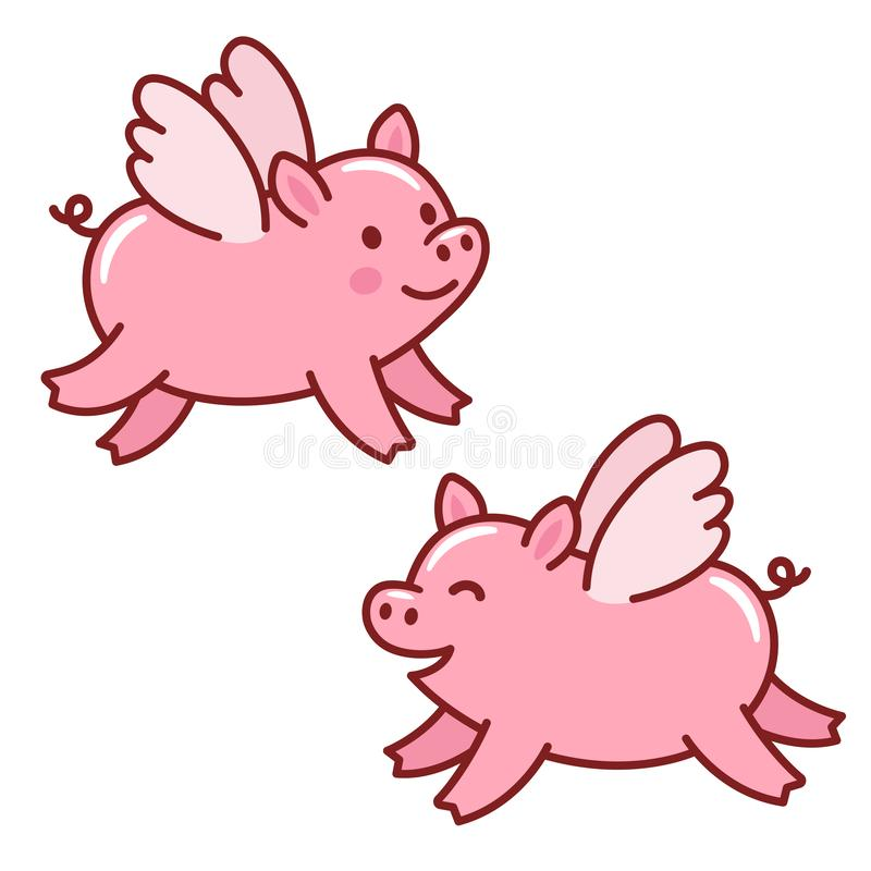 Porcs mignons de vol illustration libre de droits