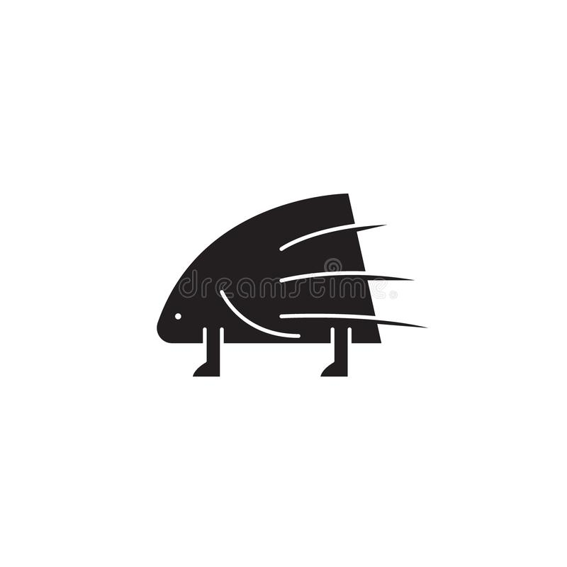 Porcupine black vector concept icon. Porcupine flat illustration, sign vector illustration