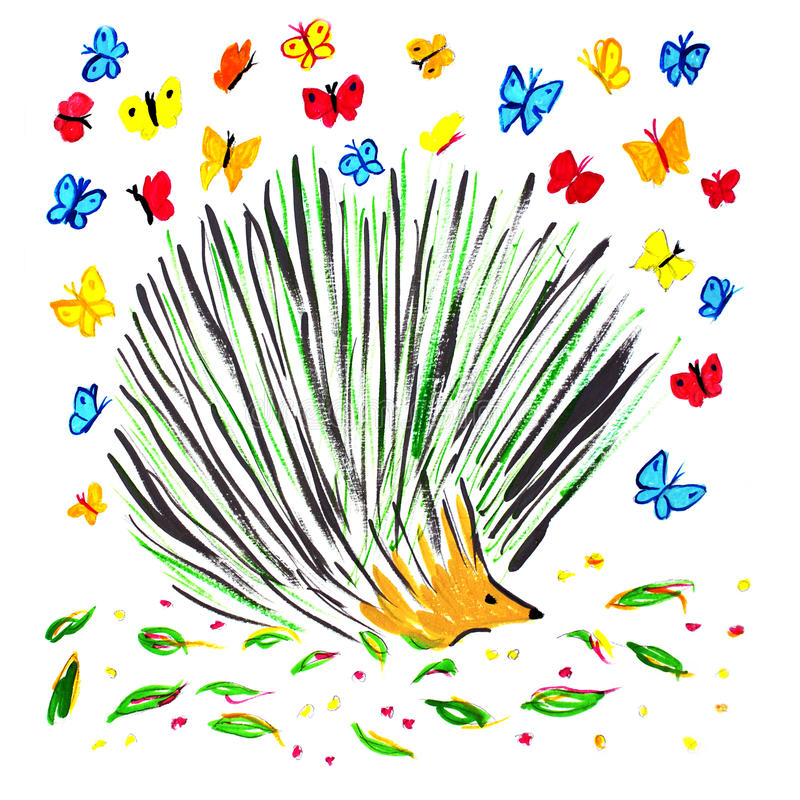 Porcupine and butterflies stock images