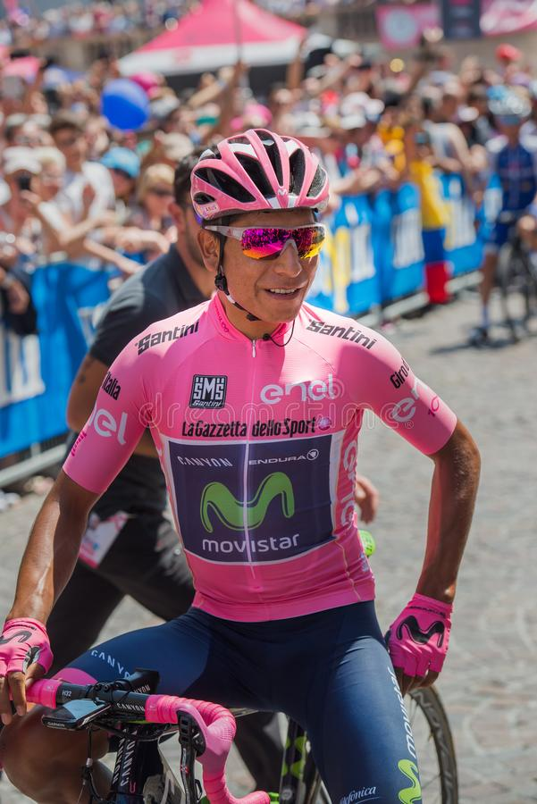 Pordenone, Italy May 27, 2017: Professional cyclist Nairo Quintana MovistarTeam, in pink jersey, in first line. Before the start for a tough mountain stage of royalty free stock photos