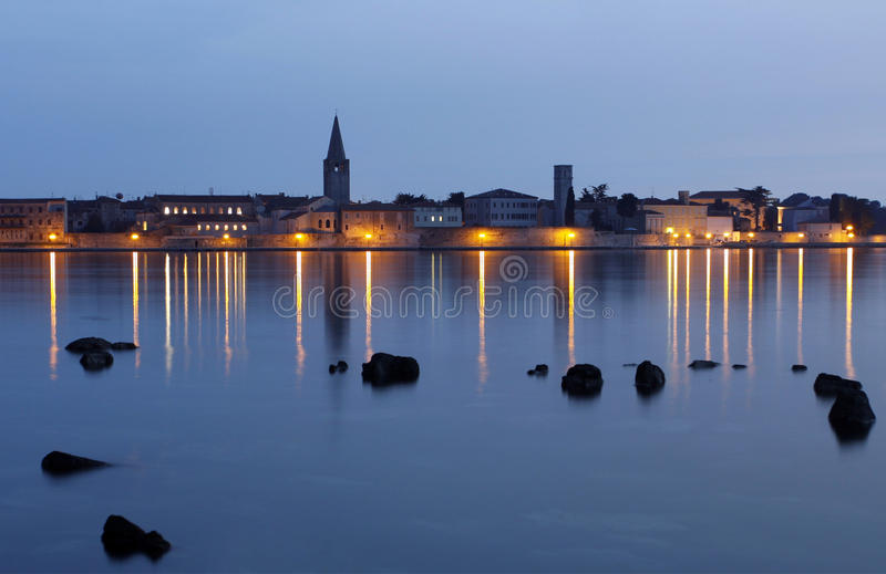 Porec in Croatia. Porec town in the evening after sunset, Istra, Croatia royalty free stock images