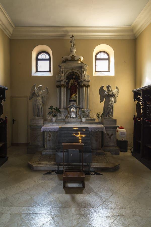 POREC, CROATIE, LE 24 SEPTEMBRE 2017 : La basilique d'Euphrasian - l'abside bizantine typique décorée par des mosaïques ont la vi photos libres de droits
