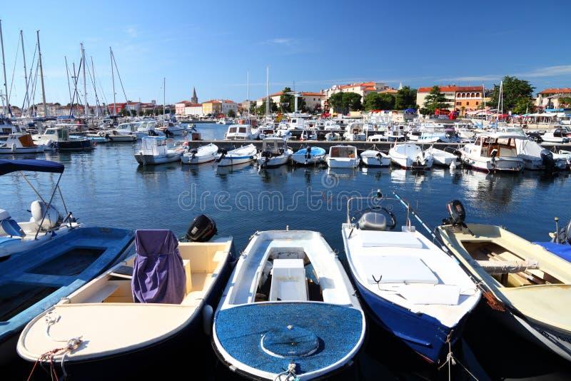 Porec Jachthafen in Kroatien stockbild