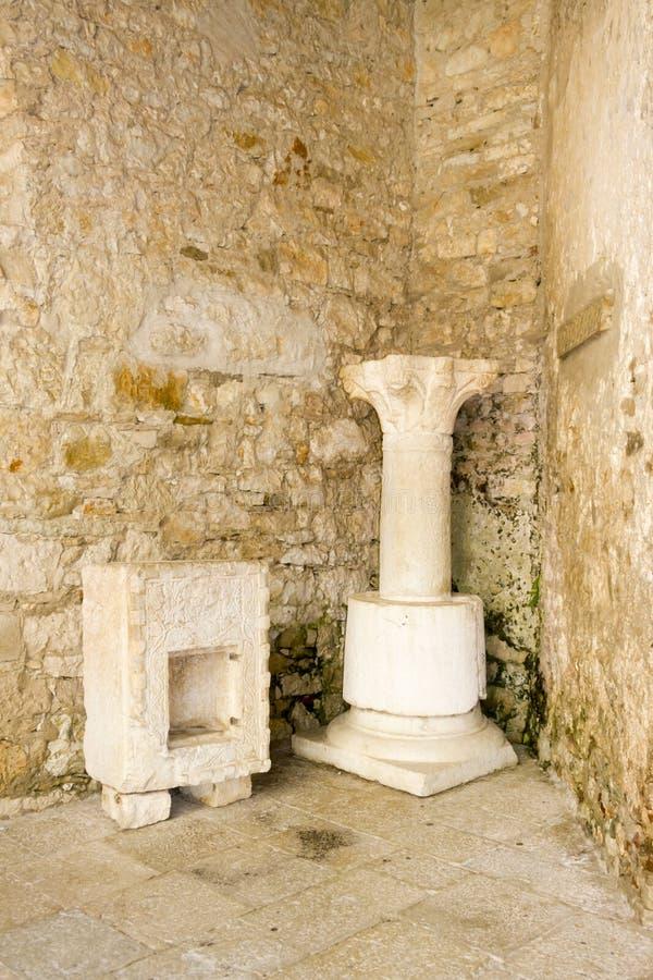 Porec på den Istria halvön. Euphrasian basilika - UNESC royaltyfri bild