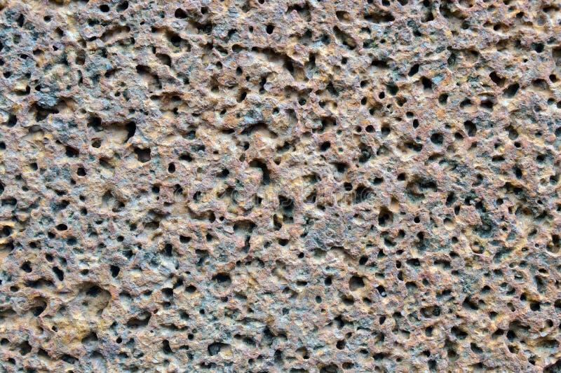 Poreuze vulkanische rotsmuur. royalty-vrije stock fotografie