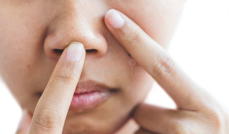 Poriën in de neus van vrouwen stock fotografie