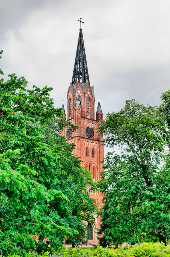 Pori. Finland. Central lutheran church. In Gothic Revival style royalty free stock images