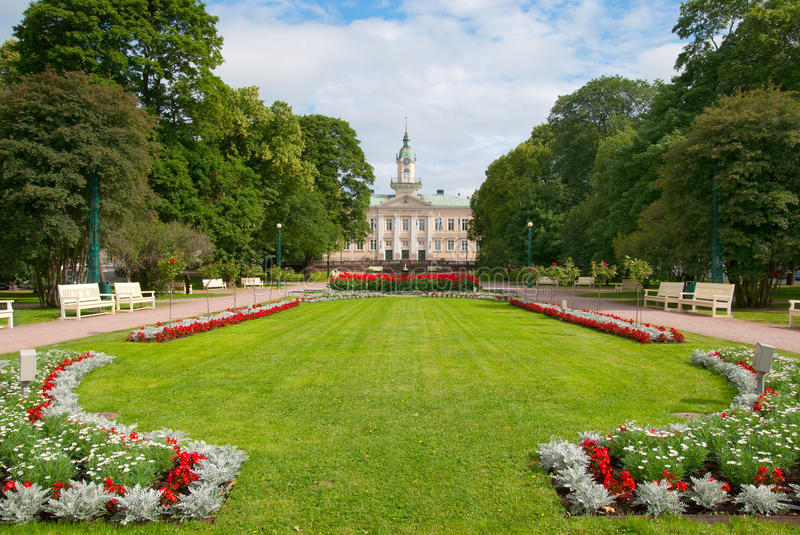 Pori. Finland. Old Town Hall and Town Hall Park royalty free stock image
