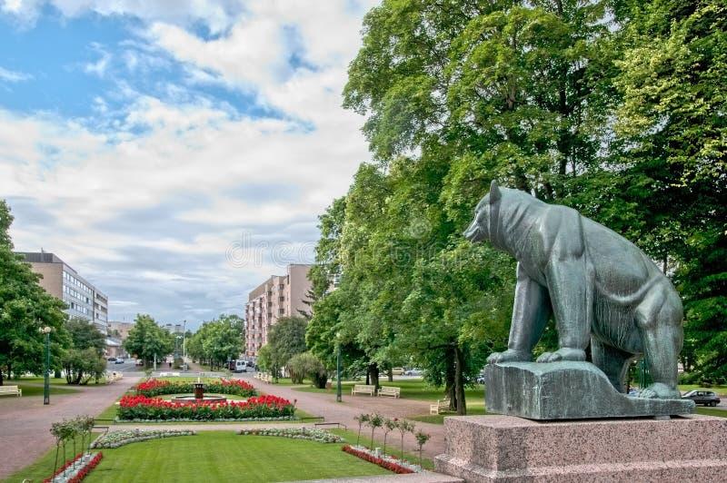 Pori finland Urso-símbolo da cidade fotografia de stock royalty free