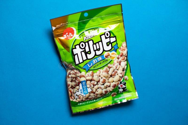 Porippy jordnötter - ett populärt traditionellt japanskt wagashimellanmål arkivfoto