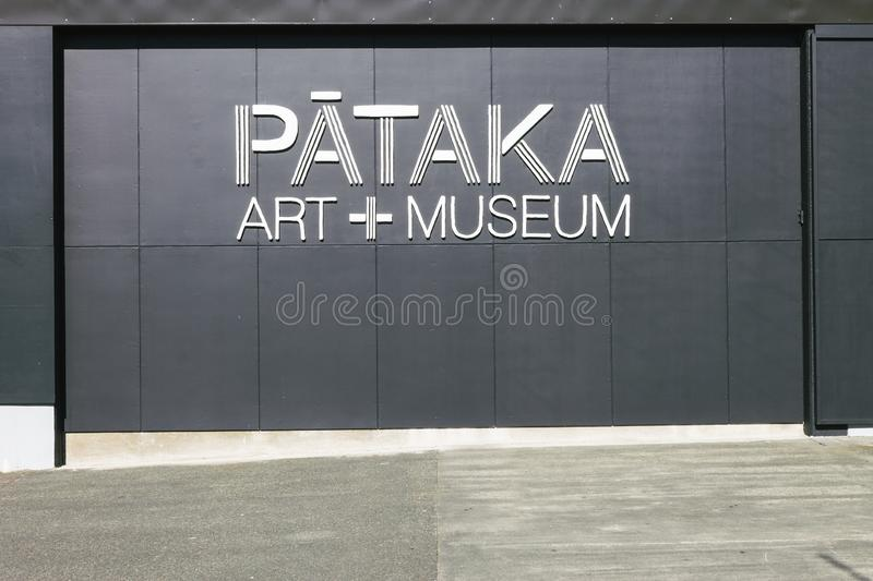 Porirua, New Zealand - September 17th, 2019: Exterior wall of Pataka, a contemporary art gallery showcasing Maori, New Zealand stock images