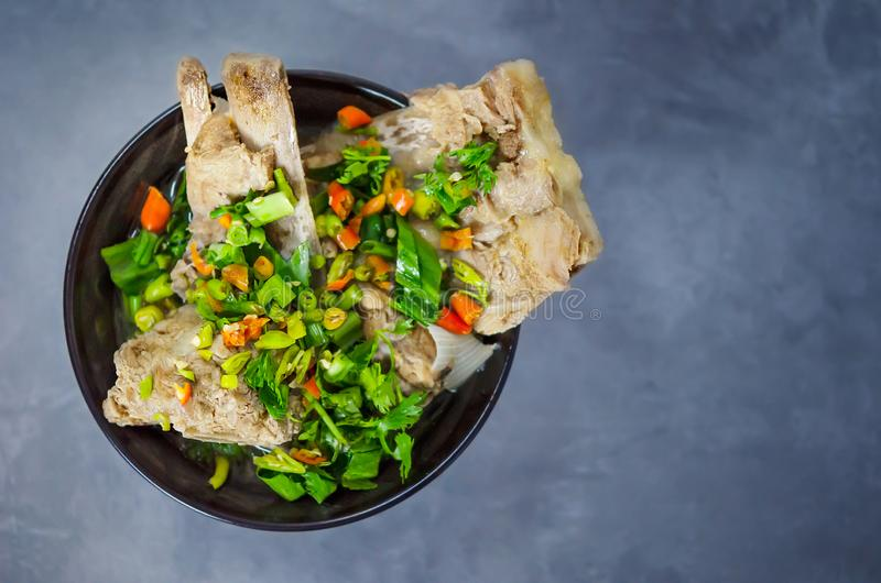 Pork bone spicy soup stock images