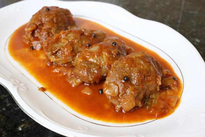 Pork cheek in sauce dish of typical food of the Andalusian and Spanish cuisine royalty free stock photo