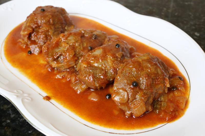 Pork cheek in sauce dish of typical food of the Andalusian and Spanish cuisine stock photography
