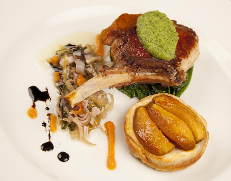 Download Pork Chop with Peach stock image. Image of food, vegetables - 19498007