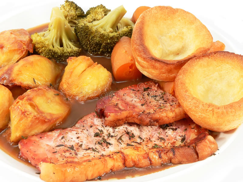 Pork chop roast dinner royalty free stock images