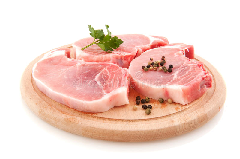 Download Pork chops stock photo. Image of pepper, timber, round - 15915598