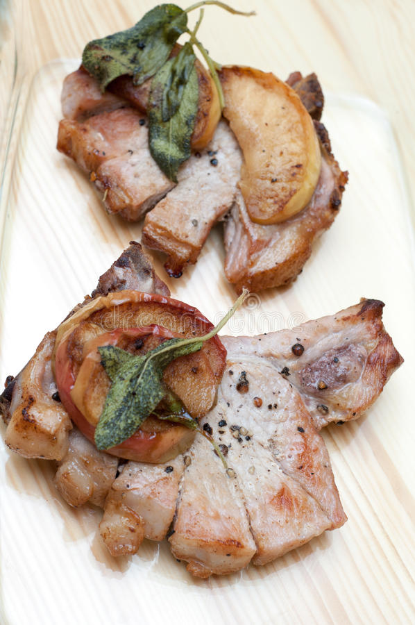 Download Pork chops stock photo. Image of meal, apple, seasoned - 29133836