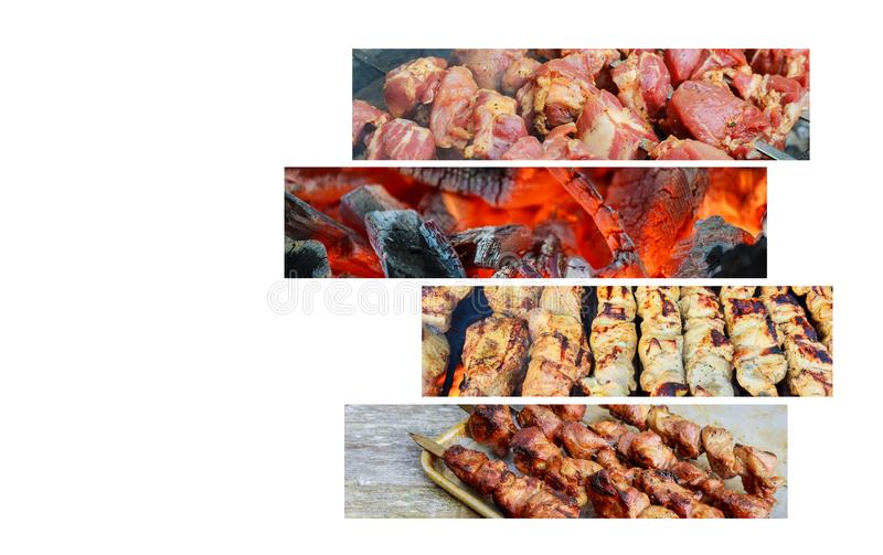 Pork Chops with Kabobs on the BBQ Grilled vegetable and meat skewers Kebabs on the grill Collage of various meat products. Barbecue on flaming hot Grilled stock photos