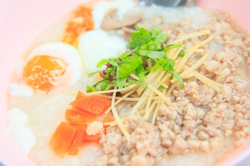 Pork congee with egg stock image