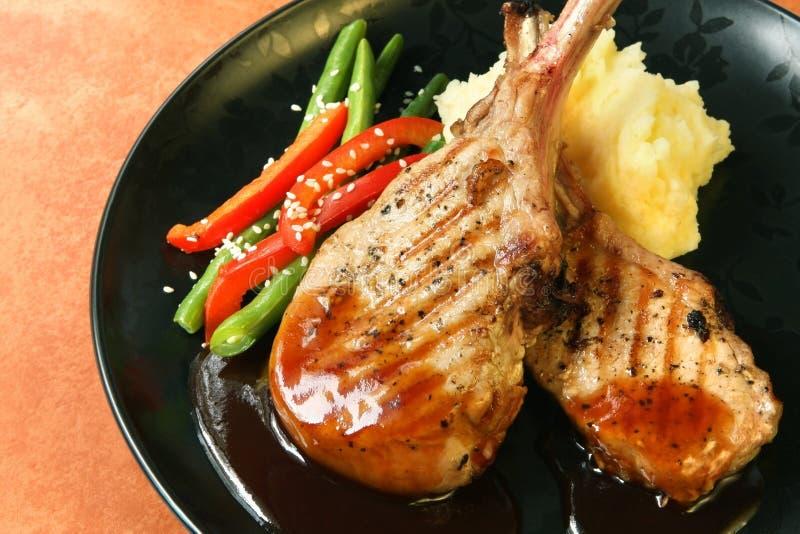 Download Pork Dinner stock image. Image of mash, green, cutlets - 3670025