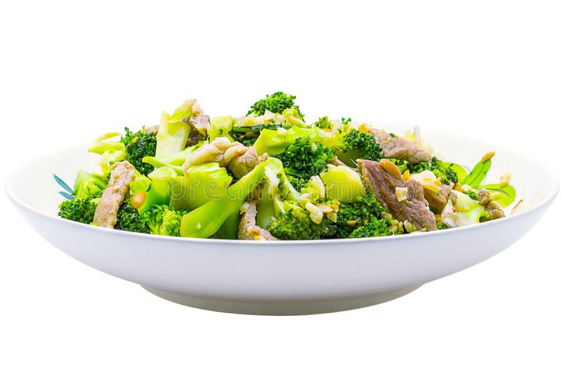 Pork fillet with broccoli isolated on a white background that can be easily used to make illustrations or designs. Pork fillet with broccoli isolated on a white stock images