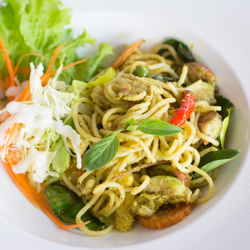 Pork green Curry Spaghetti. stock images