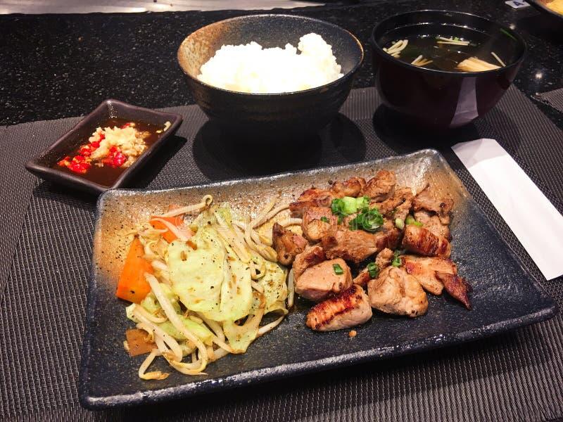 Pork grill and rice stock photos