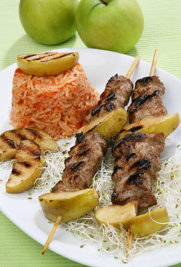 Download Pork grilled with apples stock image. Image of picnic - 14670271