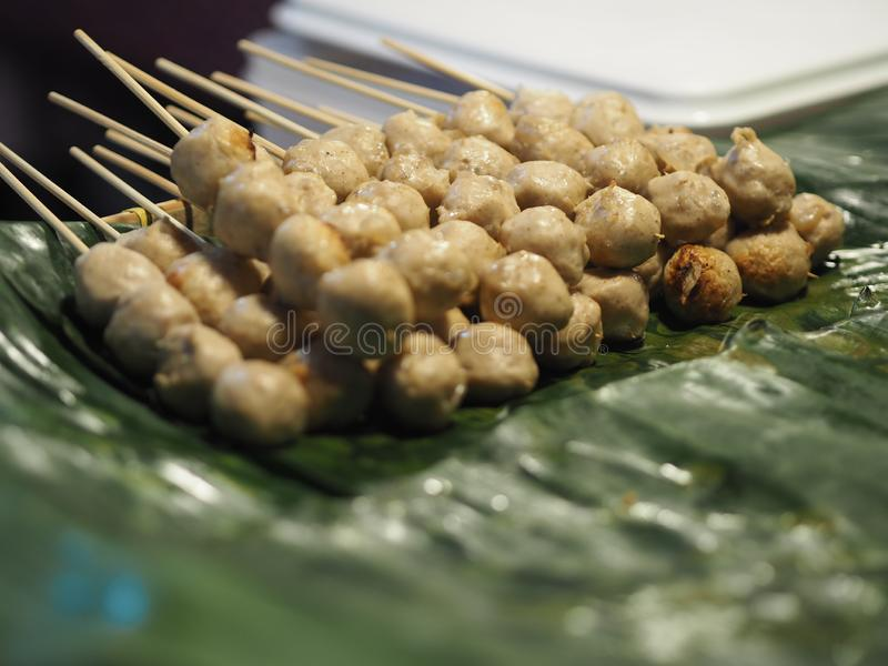 Pork grilled meat balls. Closeup Pork grilled meat balls royalty free stock photos
