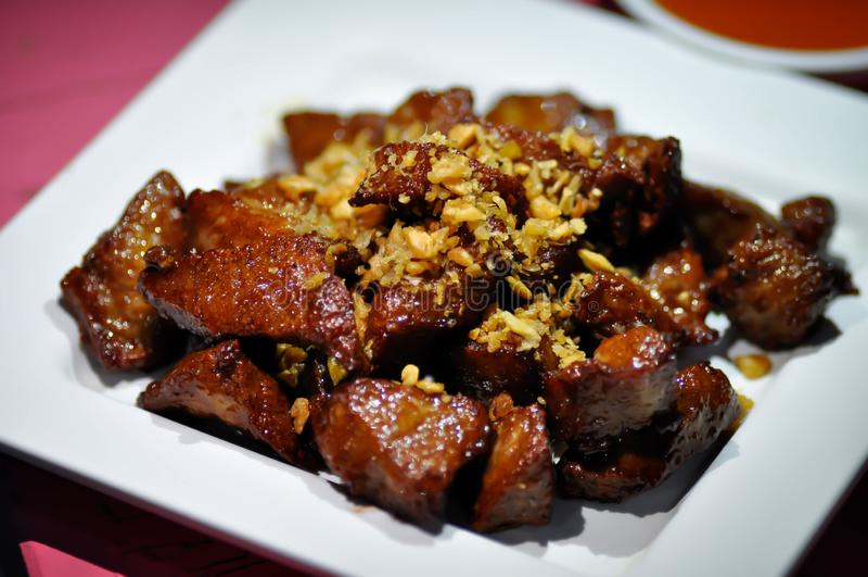 Pork, grilled pork or roasted pork. With dip stock photos
