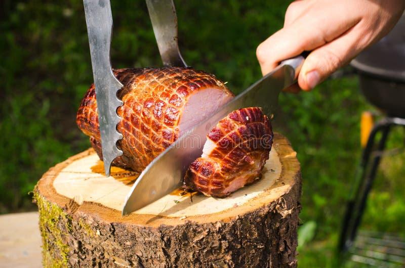 Pork ham baked on bbq royalty free stock photo