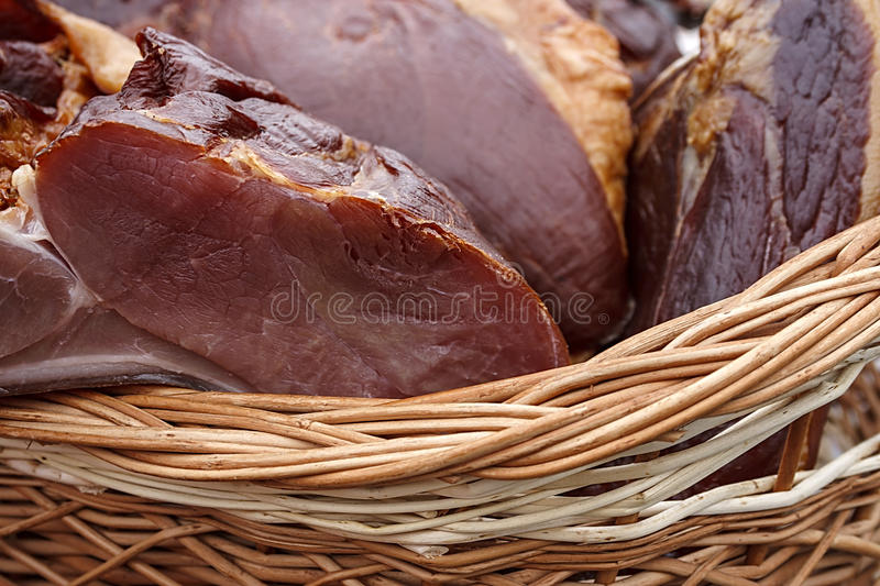 Download Pork Ham Placed In A Wicker Basket Stock Photo - Image: 30862286